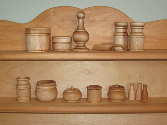 Wood Kitchen Pantry Toy set, Waldorf inspired natural toys