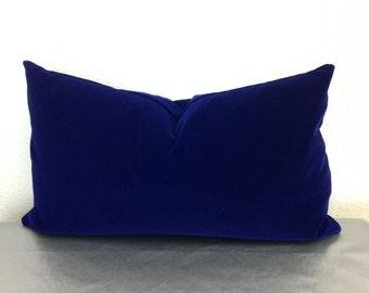 Royal blue velvet pillow cover holiday decor pillows for Royal blue couch pillows