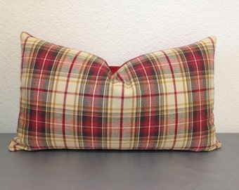 "Last 16 "" x 16""Red tartan pillow cover - Black Friday /Christmas red plaid pillow, Holiday pillow covers, plaid pillow, 16 x 16 pillow cover"