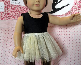 Gold Lycra Leggings, gold sparkly tutu and black leotard set for 18 inch dolls