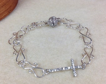 Sideways Cross Bracelet, Silver Plated Wire Link Bracelet, Rhinestone Sideways Cross Bracelet, Crystal Sideways Cross