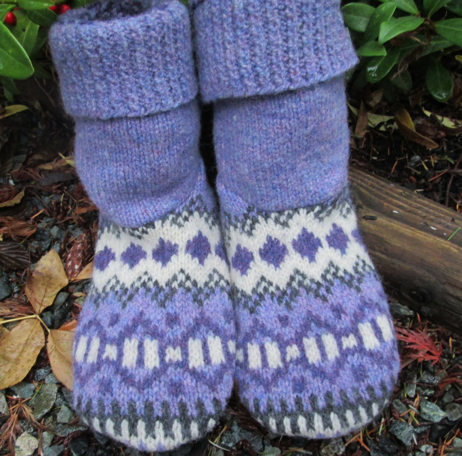 felted wool sweater slipper boots cozy warm house slippers