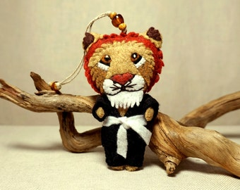Customized Felt BJJ or Karate Fighter Lion Doll Ornament Inspired by Iron Lion Jiu-Jitsu Academy * Made to Order