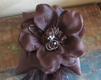 Brown Satin Ring Bearer Pillow with flower and feathers