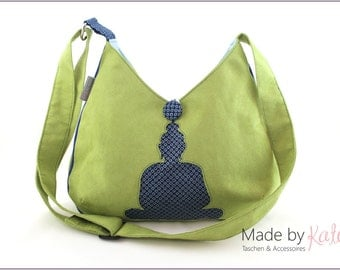 handbag, shoulder bag, cross-body bag, bag, light green bag, with buddha motif, cross-body shoulder bag