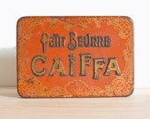 """Orange french tin - french metal box """"Petit beurre Caïffa"""" - Retro kitchen metal canister - French Country style"""