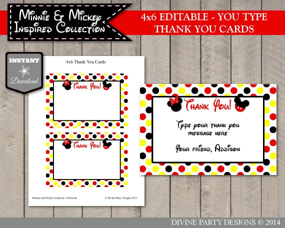 INSTANT DOWNLOAD Editable Girl and Boy Mouse Printable 4x6 Thank You ...