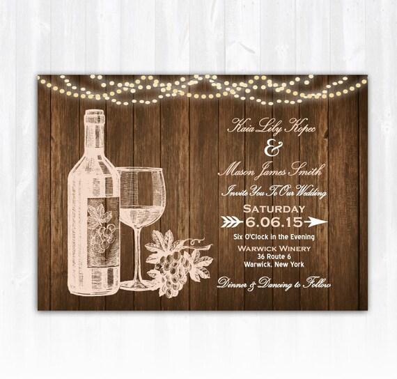 Winery Wedding Invitations: Wine Wedding Invitation DIY PRINTABLE Digital File Or Print
