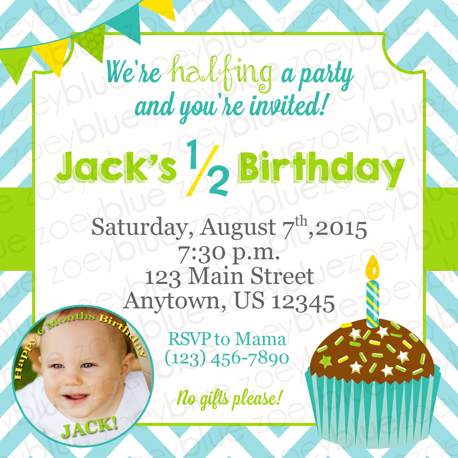 Half Birthday Invitation Boy 6 Month Birthday Invitation Cupcake ...