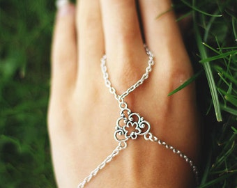 Hand chain, Silver Hand Harness Ring Bracelet