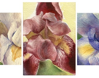 "Watercolor flower ACEO (3x) ""Iris"", watercolor painting, Print,  Artist Trading Card, archival watercolor paper"
