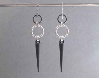 Black Spike Earrings, Long Spike Earrings, Hypoallergenic Earrings, Black Dangle Earrings, Long Dangle Earrings, Edgy Earrings, Edgy Jewelry