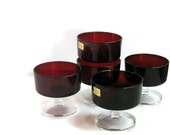 Vintage Luminarc set of 5 ruby red glass dessert dishes. French glassware.