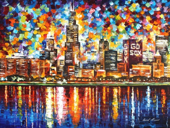 Chicago painting illinois wall art on canvas by leonid afremov for Chicago mural artist