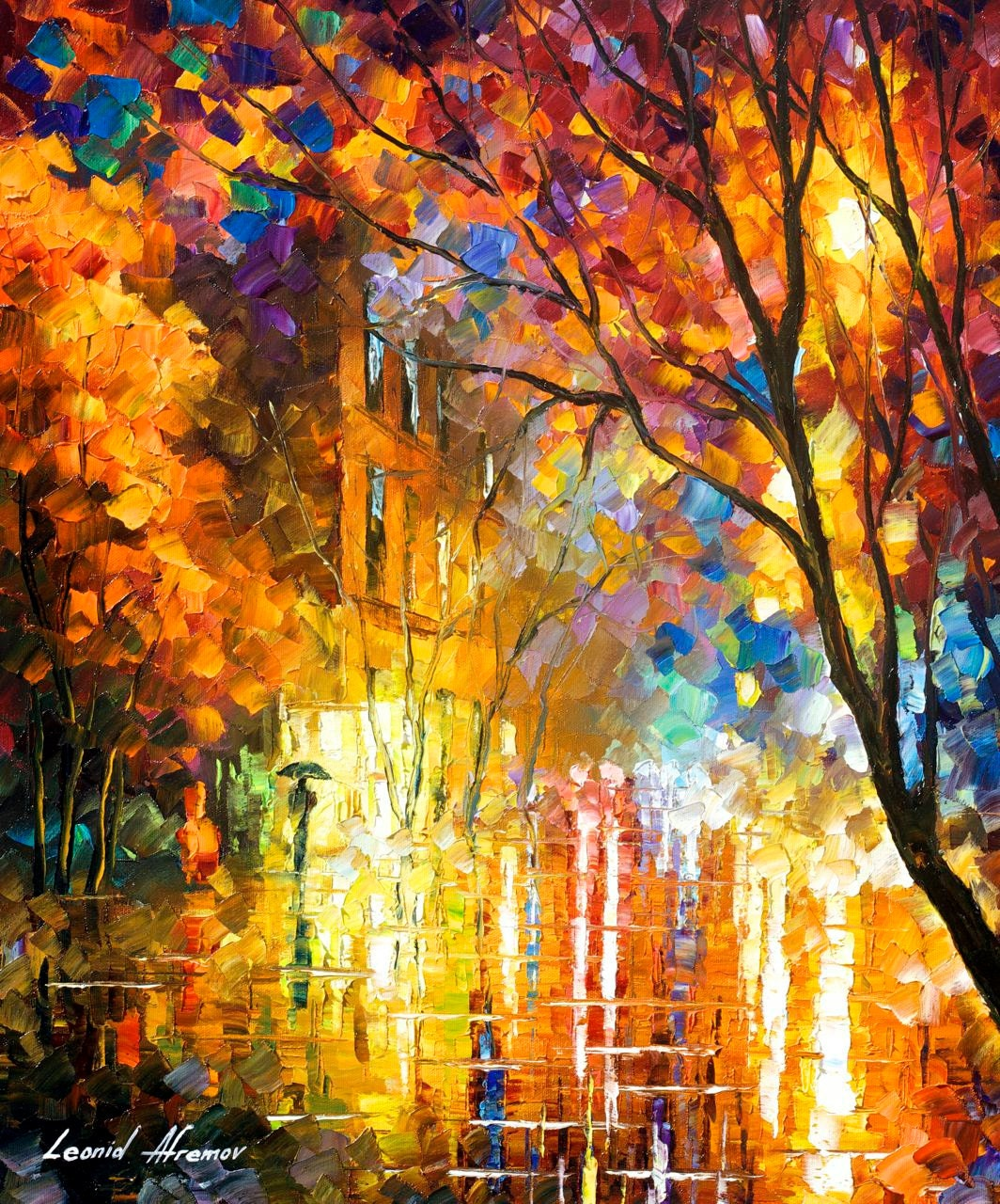 Impression of colors palette knife cityscape modern wall art for Oil paint colors names