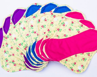 Set of 9 Light, Medium and Heavy Femeko Cloth Menstrual Pads, Reusable Pads, Cloth Pads