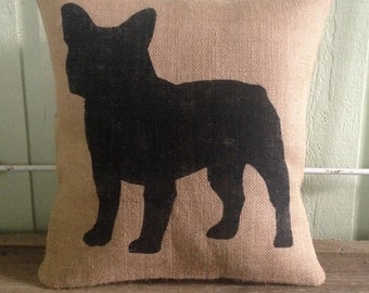 Burlap Pillow - French Bulldog Pillow - Dog Silhouette - Frenchie, Gift for him, Gift for her