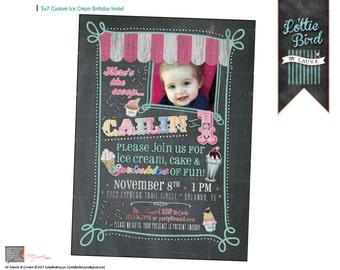 Ice Cream Chalk Board - Soda Shoppe - Birthday - Invitation - Printable - Digital - Customizable