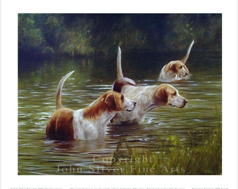 Foxhounds cooling down in the river. Ltd Ed Print. Personally signed and numbered by award Winning Professional artist JOHN SILVER. jsfa019