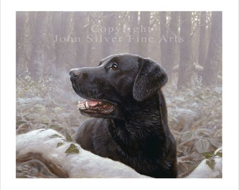 Black Labrador retriever Limited Edition Print. Personally signed and numbered by Award Winning Artist JOHN SILVER. jsfa051