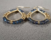 Vintage Art Deco Style Multi Round Yellow Gold Tone Ball Oval Hoop Faux Sapphire Glass Pierced Earrings Jewelry    K