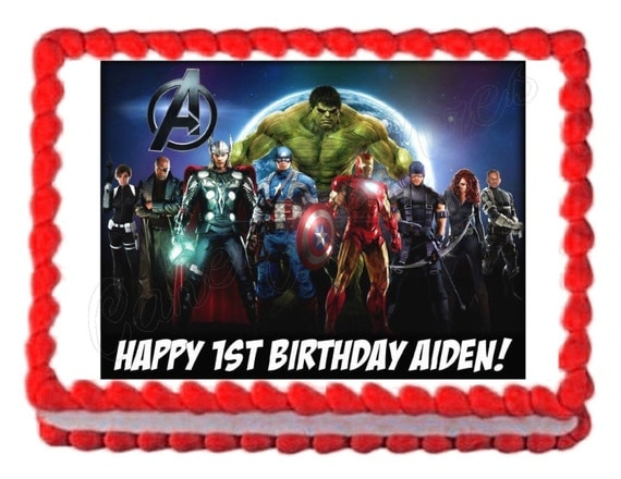 Avengers party decoration edible cake image cake topper