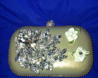 SALE - Gold Evening Clutch, Gold Clutch Bag,  Evening Bags, Wedding Clutch, Gold Clutch Purse