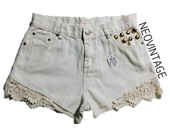 SALE High Waisted Gold Dome Studded White Lace Shorts SMALL