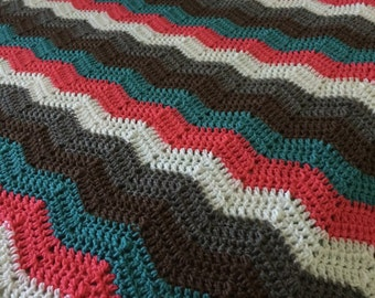 Crochet chevron blanket in custom colors