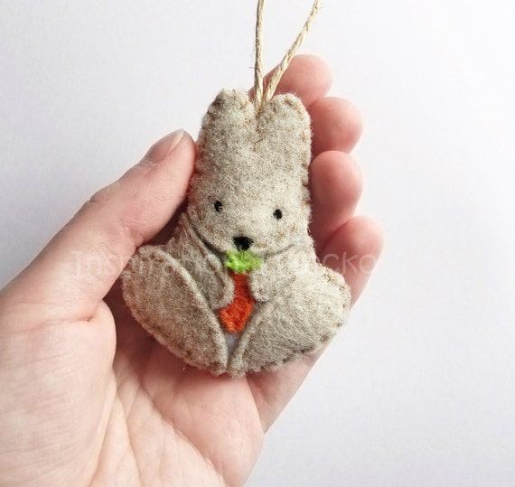 Felt bunny ornament felt woodland baby shower cute nursery for Animal decoration