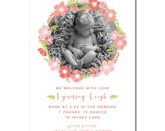 Floral Birth Announcement Ring of Flowers | The Lyndsay | Flower Ring Photo Birth Announcement