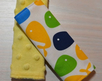 Car Seat Strap Covers - Whales, blue, yellow, green