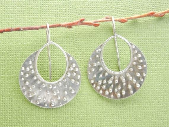 "Round Hoop Earrings, 1"" x 1"", 30 mm x 30 mm, Argentium Silver Granulated Design. Statement Earrings"
