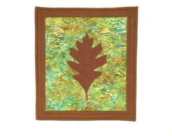 Oak Leaf Art Quilt Green Teal Brown Small Fiber Wall Hanging