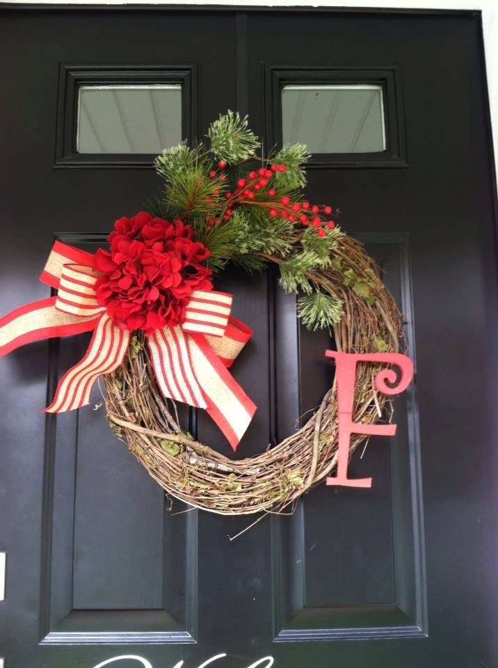 Monogrammed Christmas Wreath -Grapevine Wreaths - Pine and Red Berry Wreath - Winter Wreaths -Red Hydrangea Christmas Wreath - Wreaths