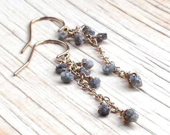 Raw Diamond Earrings Rough Diamond Dangle Earrings, Wedding Jewelry, April Birthstone, Elegant Cascade Diamond Earrings, minimalist jewelry