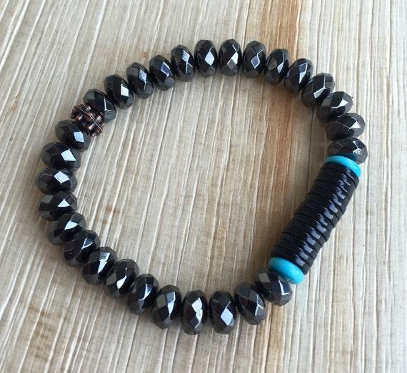 Hematite , Black Onyx , Turquoise Mala Bracelet , Stacking bracelet Unisex Endurance Grounding Protection Prosperity