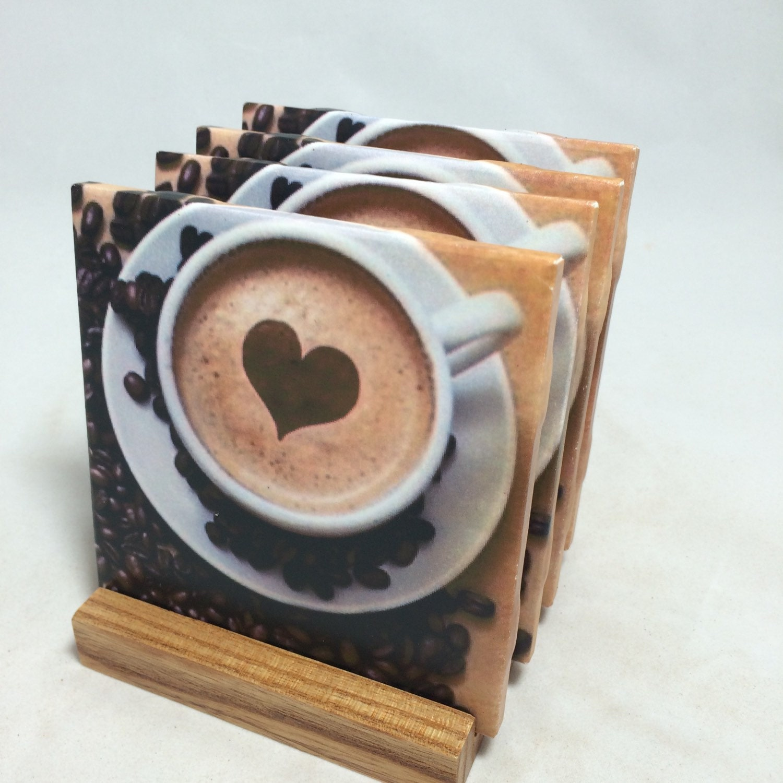 Handmade coffee lover drink coasters set of for Handmade drink coasters