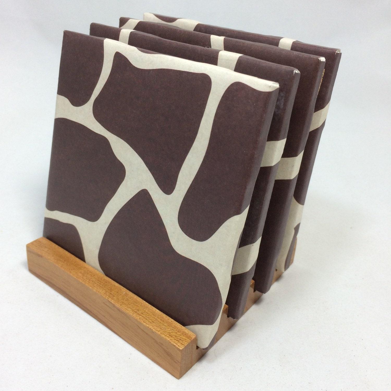 Handmade giraffe drink coasters set of four for Handmade drink coasters