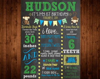 MONKEY First Birthday Chalkboard Poster/Sign - digital - Baby/Child Growth/Milestones, Boy, Girl, Growth, Statistics, Birth, Party