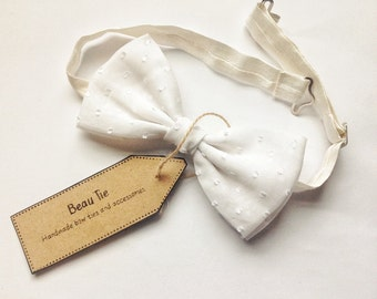 mens bow tie white polka dot, white bow tie, polka dot bow tie, wedding
