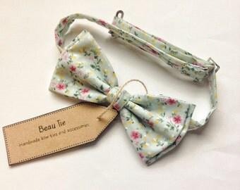mens bow tie floral cotton, floral bow tie, cotton bow tie, pastel blue tie, wedding