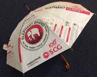 Umbrella made from repurposed cement bags