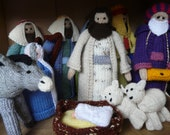 Hand Knitted Nativity set including sheep and donkey