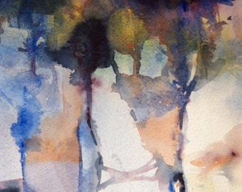 Blocks, An Original Watercolor Abstract Painting, Contemporary Art, Large Watercolor, Ready to Frame, 20x24 inches