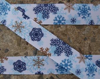 "3 yards Christmas Printed Ribbon 7/8"" Snowflake Ribbon Christmas  Hair Bow Ribbon Blue snowflakes"