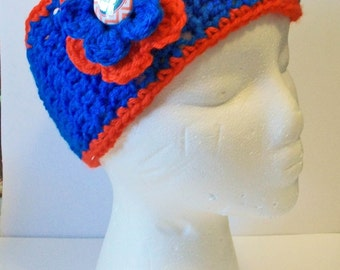 Trendy Blue and Orange Gator Inspired Hand Crocheted Headband Ear Warmer Child & Adult Sizes Available