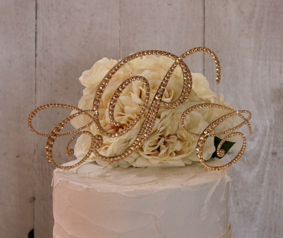 gold initial cake toppers for wedding cakes gold wedding cake topper gold monogram cake toppers 14796
