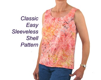 Wisteria Sleeveless Shell or Tank Sewing Pattern, BSS155