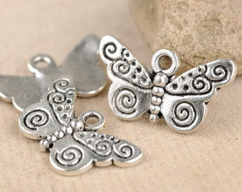 25pcs 21x12mm Vintage Style Antique silver Butterfly Charms Pendants